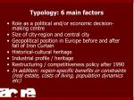 typology 6 main factors