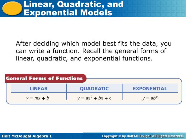 After deciding which model best fits the data, you can write a function. Recall the general forms of linear, quadratic, and exponential functions.