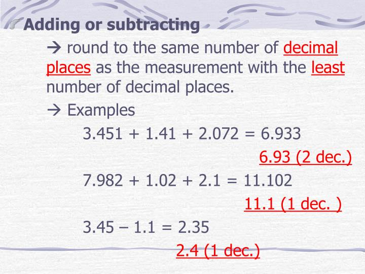 Adding or subtracting