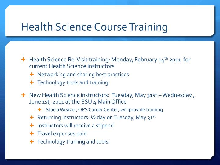 Health Science Course Training