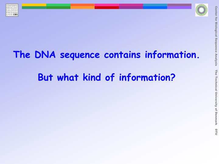 The DNA sequence contains information.