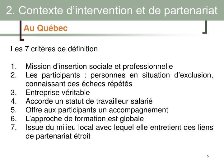 2. Contexte d'intervention et de partenariat