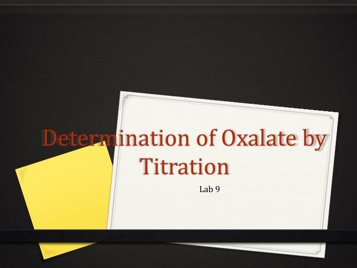 determination of oxalate by titration n.
