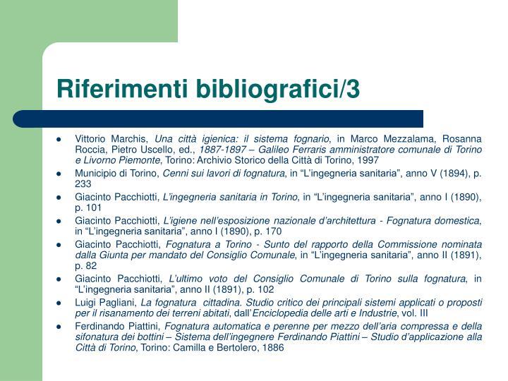Riferimenti bibliografici/3
