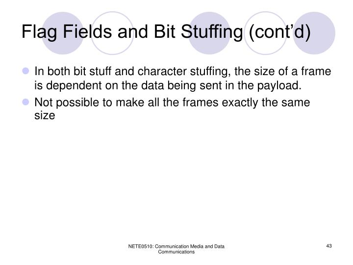 Flag Fields and Bit Stuffing (cont'd)