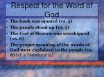 respect for the word of god