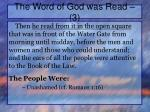 the word of god was read 3