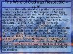 the word of god was respected 4 8