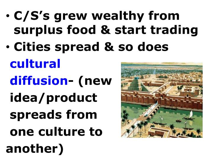 C/S's grew wealthy from surplus food & start trading