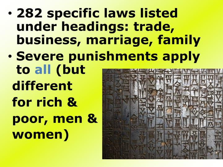 282 specific laws listed under headings: trade, business, marriage, family