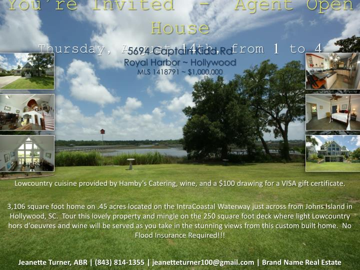 you re invited agent open house thursday august 14th from 1 to 4