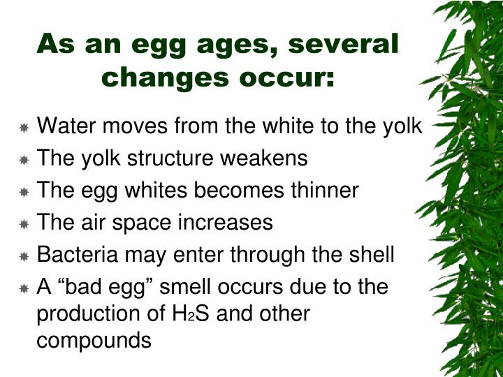 As an egg ages, several changes occur: