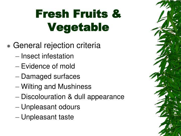 Fresh Fruits & Vegetable