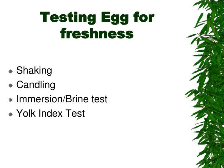 Testing Egg for freshness