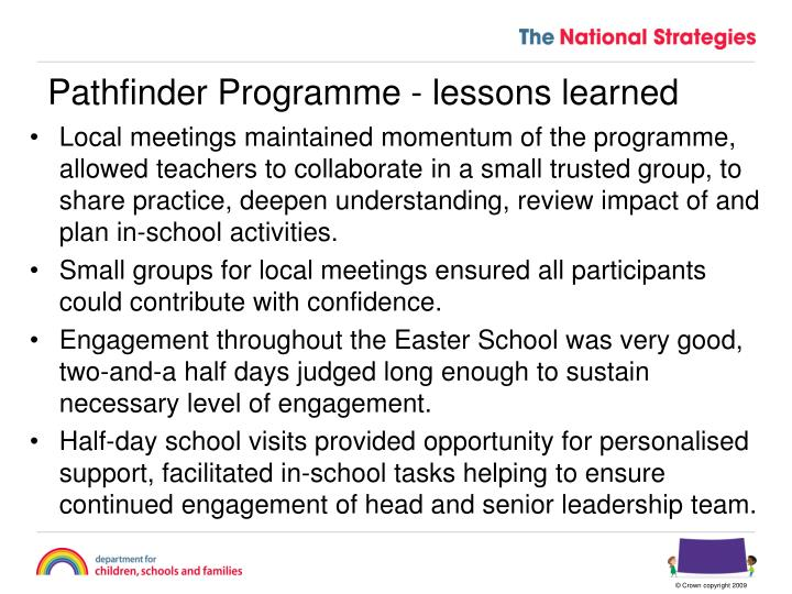 Pathfinder Programme - lessons learned