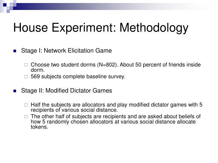 House Experiment: Methodology