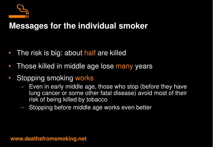 Messages for the individual smoker