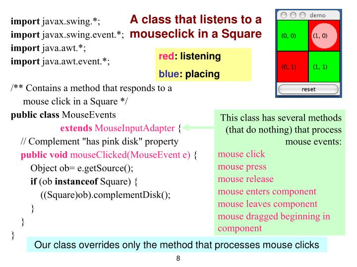 A class that listens to a mouseclick in a Square