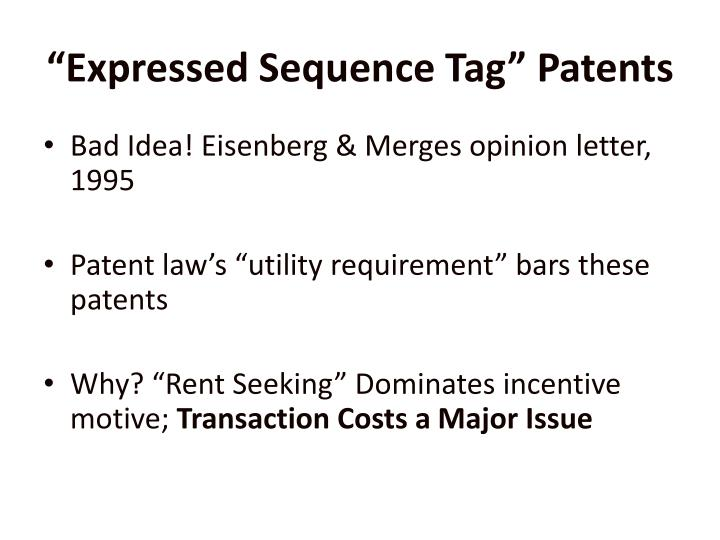 """""""Expressed Sequence Tag"""" Patents"""
