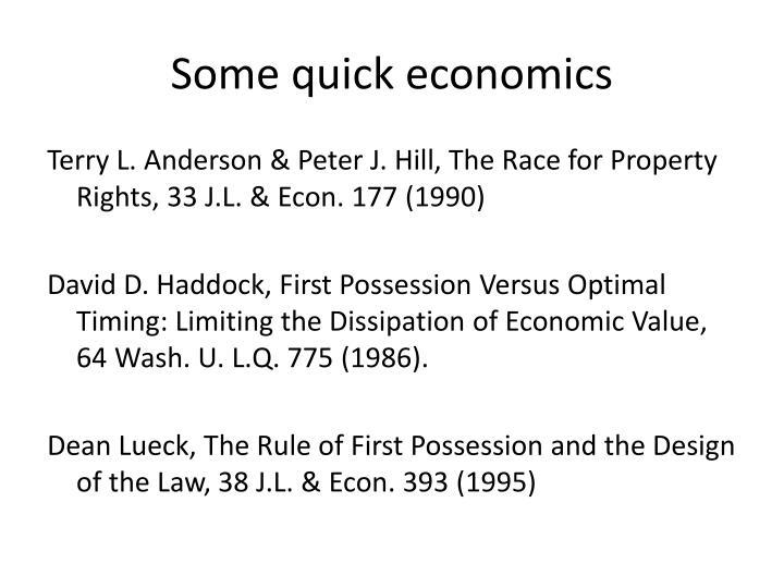 Some quick economics