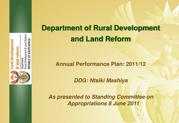 department of rural development and land reform n.
