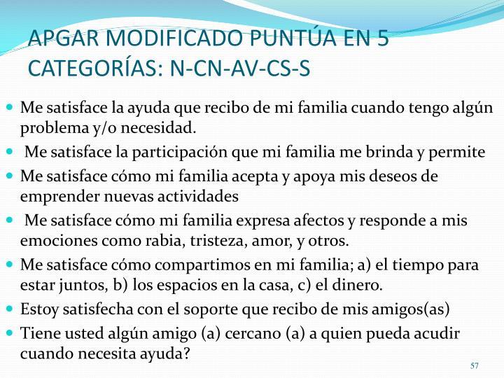 APGAR MODIFICADO PUNTÚA EN 5 CATEGORÍAS: N-CN-AV-CS-S