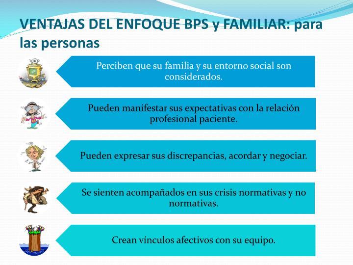 VENTAJAS DEL ENFOQUE BPS y FAMILIAR: para las personas