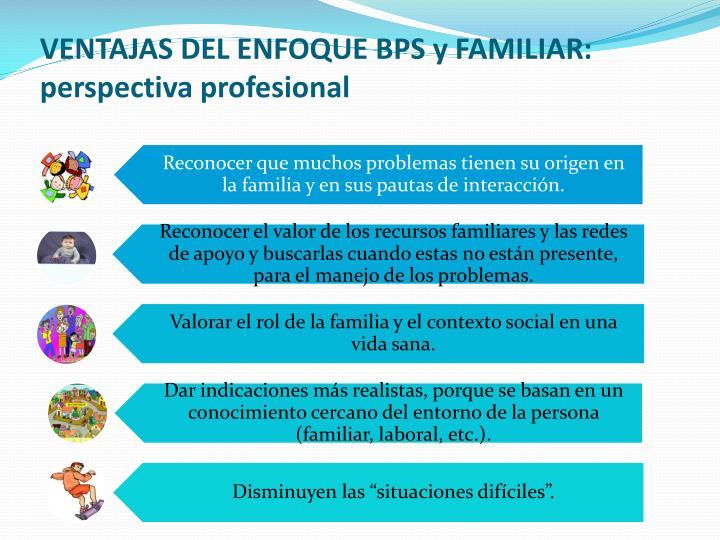 VENTAJAS DEL ENFOQUE BPS y FAMILIAR: perspectiva profesional