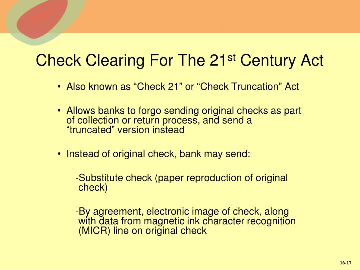 Check Clearing For The 21