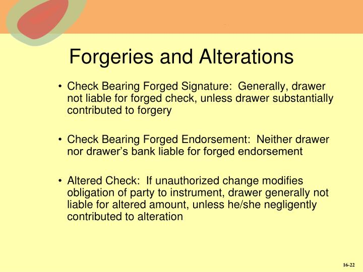 Forgeries and Alterations
