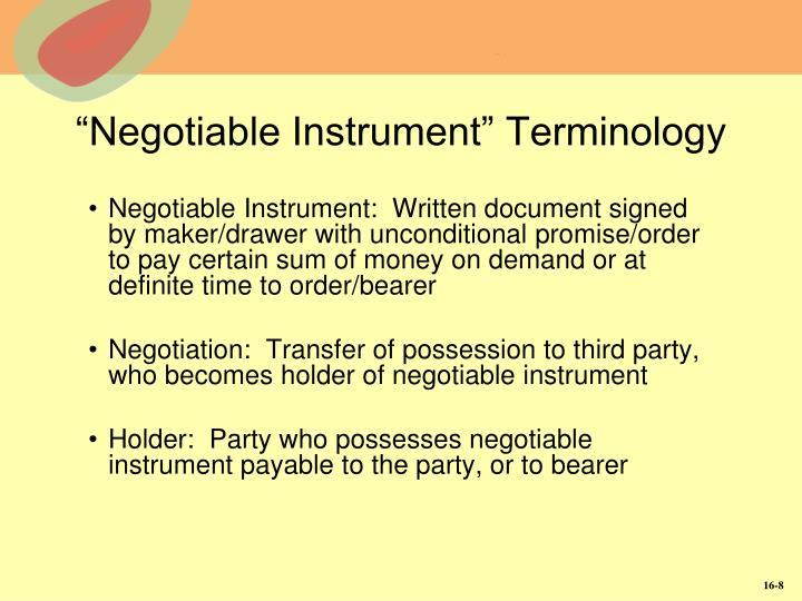 """Negotiable Instrument"" Terminology"