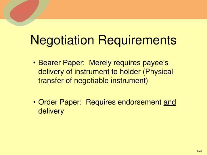 Negotiation Requirements