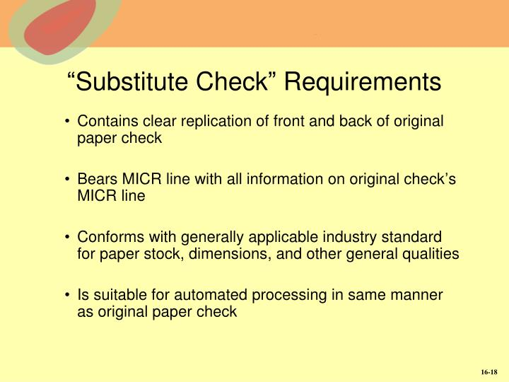 """""""Substitute Check"""" Requirements"""