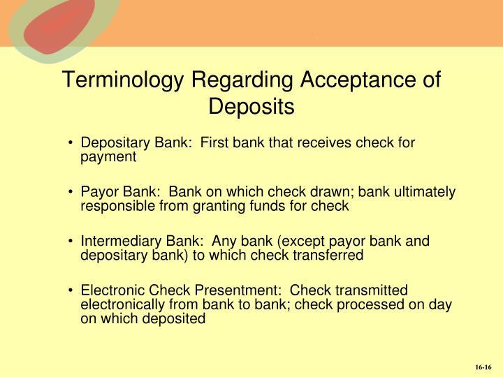 Terminology Regarding Acceptance of Deposits