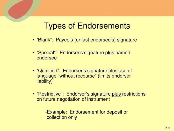 Types of Endorsements