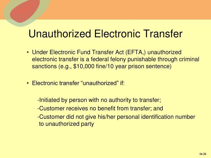 Unauthorized Electronic Transfer