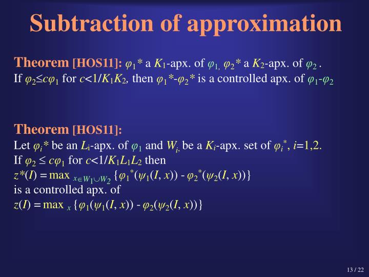 Subtraction of approximation