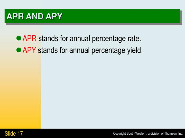 APR AND APY