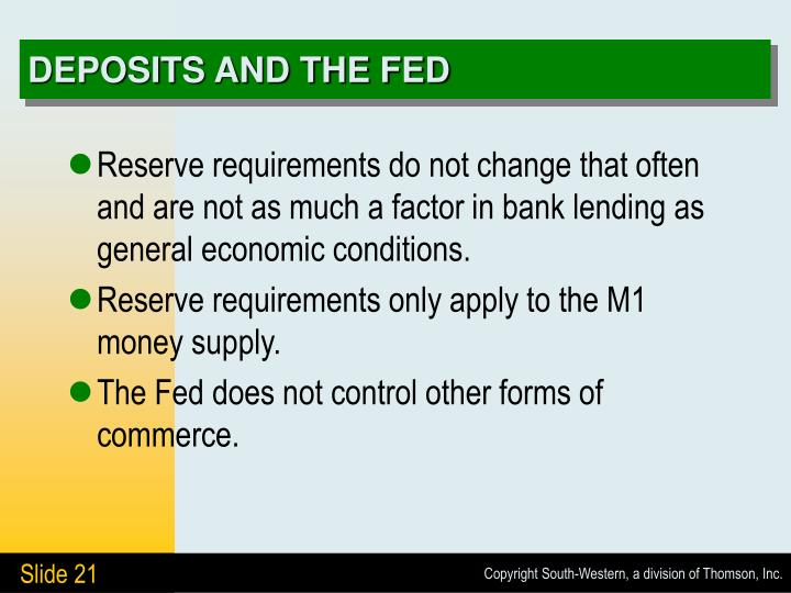 DEPOSITS AND THE FED