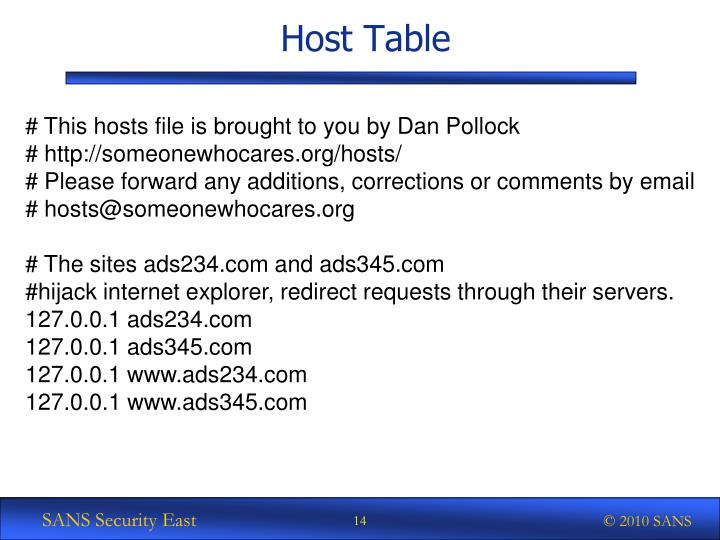 Host Table