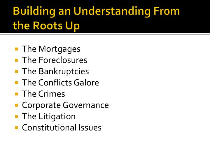 Building an understanding from the roots up