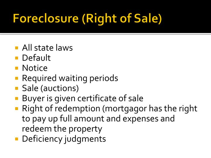 Foreclosure (Right of Sale)