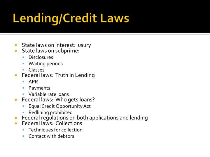 Lending/Credit Laws