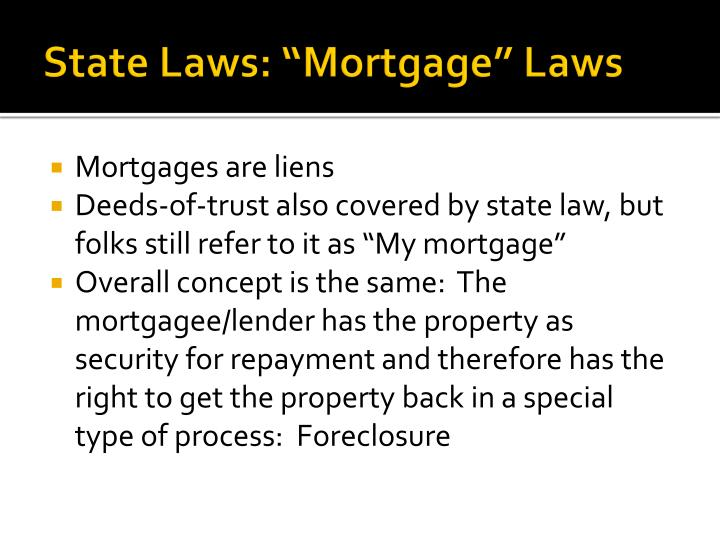 """State Laws: """"Mortgage"""" Laws"""
