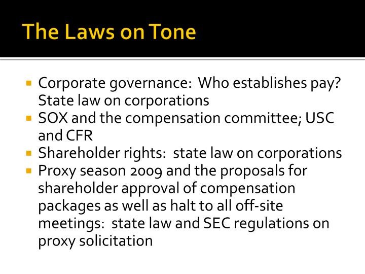 The Laws on Tone
