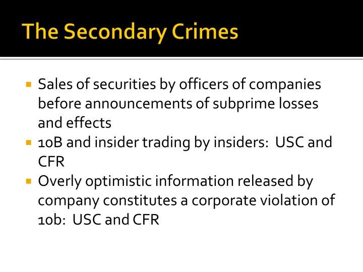 The Secondary Crimes