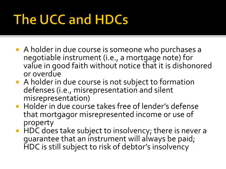 The UCC and HDCs