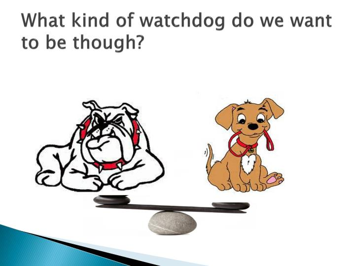 What kind of watchdog do we want to be though?