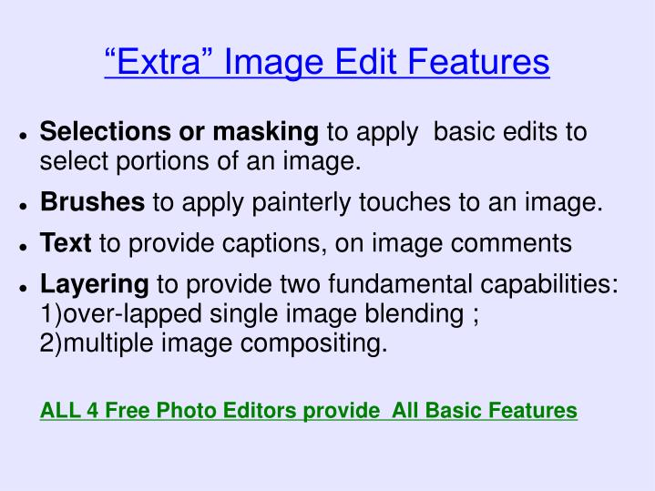 """""""Extra"""" Image Edit Features"""