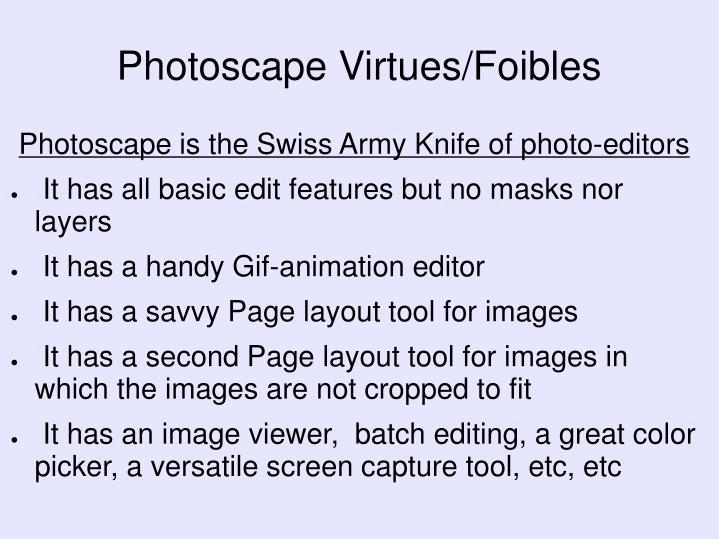 Photoscape Virtues/Foibles